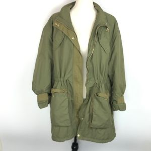H&M Sherpa Lined Army Green Parka Field Jacket
